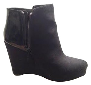 Michael Antonio Suede Leather Wedge Black Boots