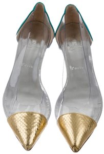 Christian Louboutin Pointed Toe Pvc Blue, Clear, Gold Flats