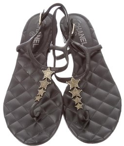 Chanel Interlocking Cc Silver Hardware Ankle Strap Star Strappy Black Sandals