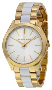Michael Kors NWT Michael Kors Slim Runway White Acetate and Gold Watch MK4295