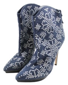 Alice + Olivia Silver Studded Suede Zip Up Navy Boots