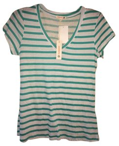 Sundry Striped Stripes V-neck T Shirt green and white