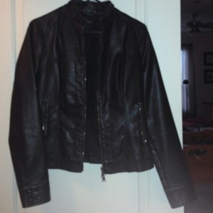 Express Faux Leather Patent Leather Black Jacket