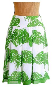 Worthington Nwot Leaf Flowy Pleated Skirt white, green
