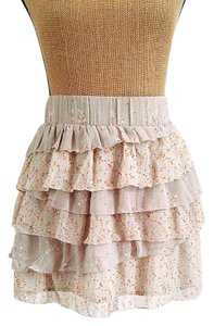 Old Navy Asymmetrical Tiered Ruffle Layered Mini Skirt Beige, cream, coral