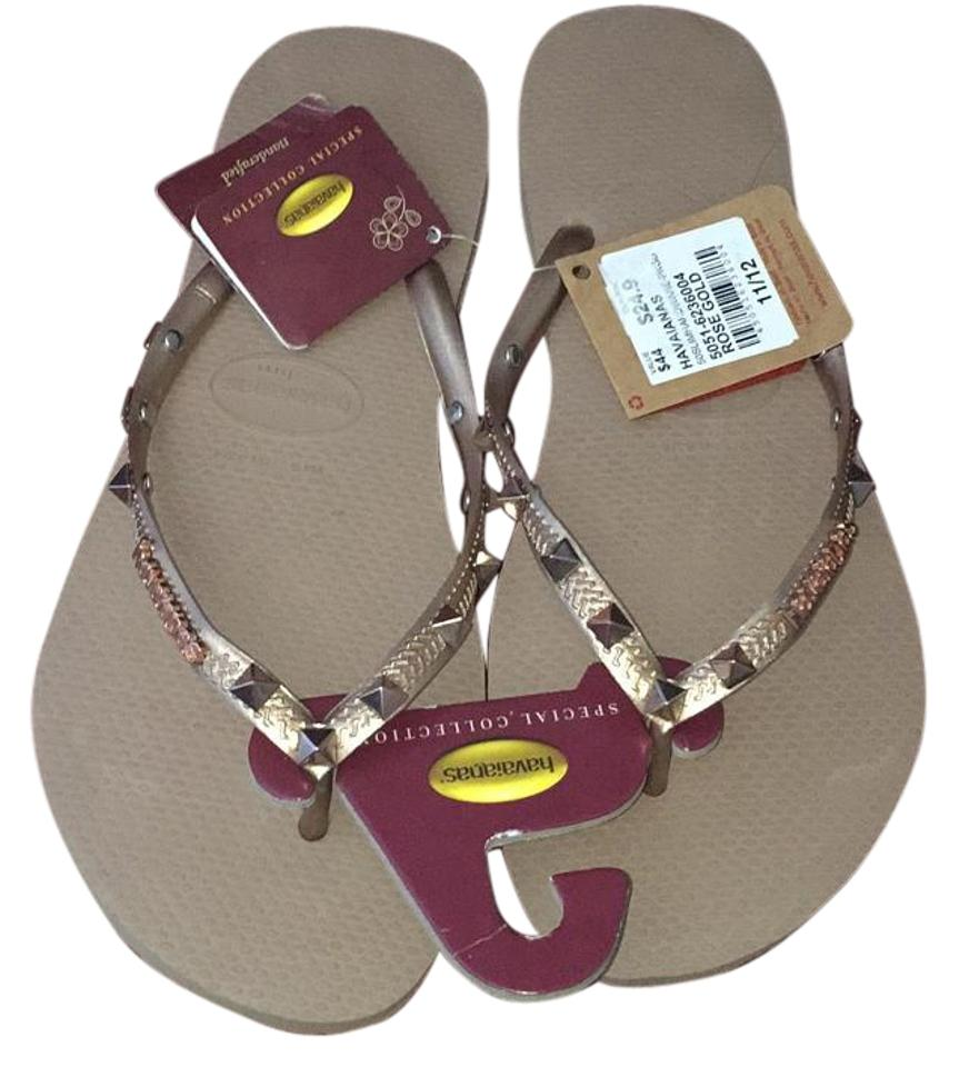 bc8cb4226 Havaianas Rose Gold Special Collection Slim Hardware Sandals Size US ...