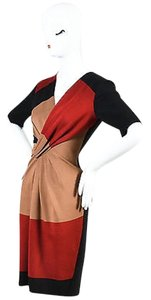 Escada Black Red Brown Color Block Gathered Knot Short Sleeve Sheath Dress