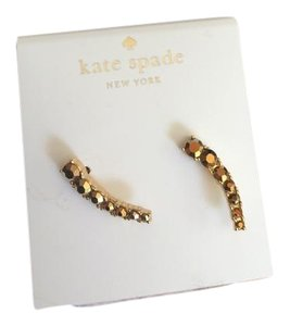 Kate Spade NWT FAST SHIPPING Dainty Gold Plated BROWN/ GOLD Crystal Ear Pin