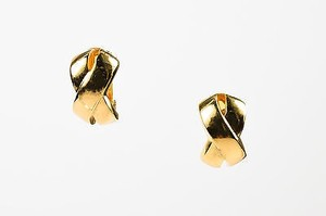 Dior Christian Dior Gold Tone Metal X Half Huggie Clip On Earrings