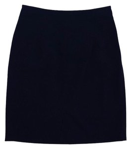 Giorgio Armani Navy Button Pleated Suit Skirt