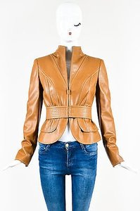 Valentino Camel Leather Stitch Trim Belted Long Sleeve Tan Jacket