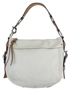 Coach White Tan Leather Buckle Strap Hobo Bag