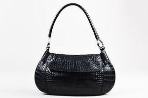 Prada Leather Crocodile Embossed Shoulder Bag