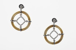 Alorna Alor 18k White Gold Yellow Stainless Steel Diamond Circle Cable Earrings