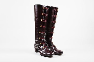 Marc Jacobs Red Gold Tone Leather Button Loop Irma Burgundy Boots