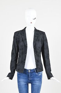 Piazza Sempione Piazza Sempione Gray Black Wool Angora Embroidered Blazer Jacket