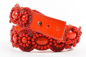 Andrew Gn Andrew Gn Coral Red Leather Beaded Belt