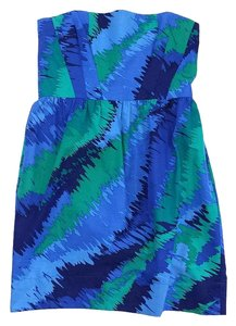 Shoshanna short dress Blue Green Print Strapless on Tradesy