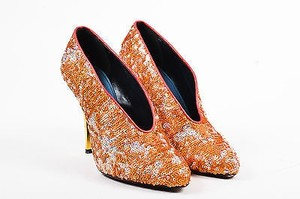 Lanvin Silver Gold Tone Leather Sequined Orange Pumps