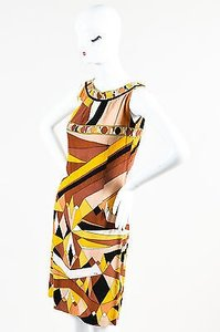 Emilio Pucci short dress Multi-Color Vintage Brownyellowblack Abstract Pattern Cotton on Tradesy