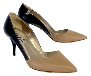 Lanvin Tan & Black Patent Leather Color Block Heels Pumps
