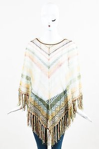 Valentino Brown Cream Green Silk Blend Striped Fringed Poncho Sweater