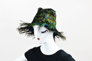 Prada Prada Ss05 Runway Green Blue Orange Peacock Feather Fedora Hat