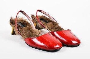 Gucci Eel Kangaroo Fur Slingback Arielle Red Pumps