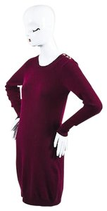 Chanel short dress Red Maroon Gold Tone Cashmere Cc Turnlock Detail Ls Sweater on Tradesy