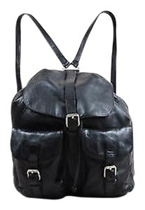 Prada Leather Buckled Pocket Drawstring Backpack Black Messenger Bag