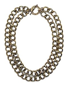 CC SKYE Cc Skye Bronze Tone Marquise Crystal Two Strand Chunky Curb Chain Necklace