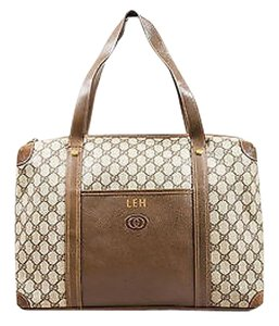 Gucci Vintage Brown Canvas Leather Monogram Travel Tote in Beige