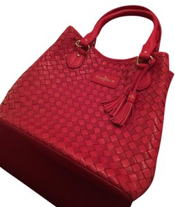 Cole Haan Leather Woven Satchel in RED