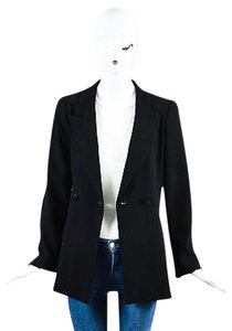Chanel Chanel Boutique 98a Black Wool Double Breasted Long Sleeve Blazer Jacket