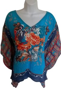Tolani Silk Top Blue/Multi