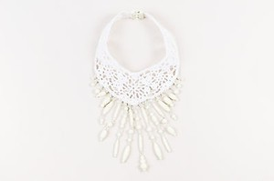 Jean-Paul Gaultier Jean Paul Gaultier White Crochet Knit Beaded Statement Choker Necklace
