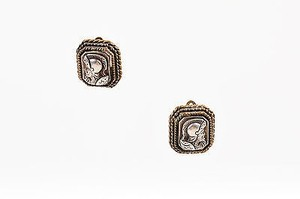 Stephen Dweck Stephen Dweck Sterling Silver Tone Knight Profile Square Clip On Earrings