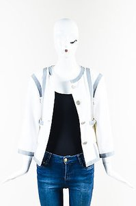 Chanel Gray Cotton Silk White Jacket