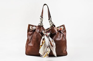 Gucci Leather Scarf Positano Tote in Brown