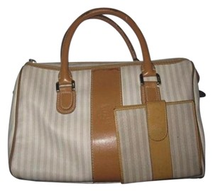 Fendi Chrome Hardware Two-way Removable Strap & Wallet Set Bi-fold Wallet Satchel in Ivory/taupe thin stripe design coated canvas & camel leather