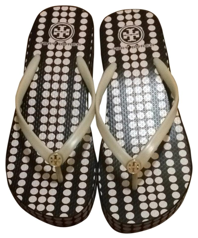a62a505bc Tory Burch Marble Dot Blush Champagne Thandie Wedge Flip Flop Flats. Size  US  9 ...