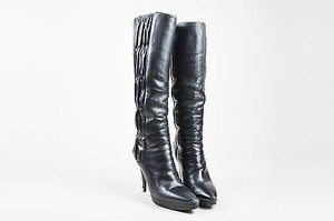 Prada Leather Ruched Black Boots