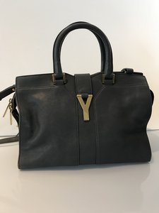 Saint Laurent Yves Leather Tote in Gray
