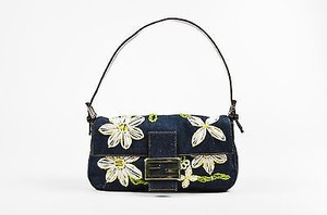 Fendi Navy White Yellow Denim Shoulder Bag