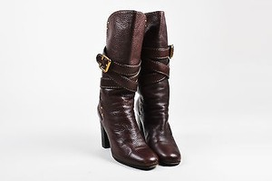 Chloé Chloe Grained Leather Brown Boots