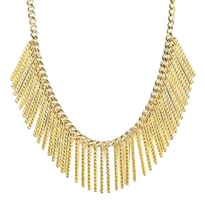 Rebecca Minkoff Rebecca Minkoff Gold Tone Metal Chain Link Studded Bar Fringe Bib Necklace