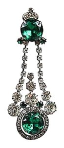 Kenneth Jay Lane Kenneth Jay Lane Green Rhinestone Chandelier Clip On Single Earring