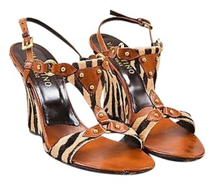Valentino Tan Pony Hair Brown Sandals