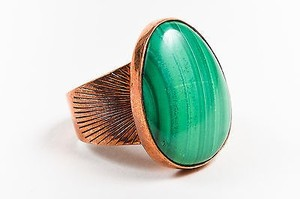 Vintage Copper Tone Metal Green Resin Striped Stone Statement Ring