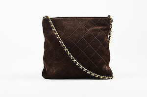 Chanel Vintage Quilted Suede Gold Tone Chain Strap Cross Body Bag